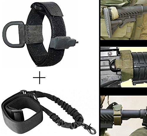 Ultimate Arms Gear IDF Israeli Defense Forces Slip On Black Mount Loop Adapter Rifle Shotgun Velcro Attachment with D-Ring For AR15/AR10/M4/M16/A2/A1 + Sling, Black