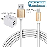 iPhone Charger, Dual USB Charger, Micro USB Cable, Gaoye Metal 2 in 1 Lightning Cable (6.6ft) 2 Meters [Apple MFi Certified] 8 Pin High Speed for iPhone iPad Samsung HTC LG Huawei Android Phones