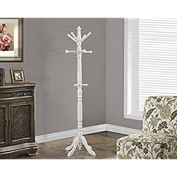 """COAT RACK - 73""""H / ANTIQUE WHITE WOOD TRADITIONAL STYLE"""