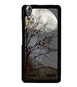 Printvisa Haunted Birds On A Tree In Moonlight Back Case Cover for Lenovo A6000 Plus