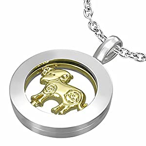 Fashion Alloy 2-tone Aries Zodiac Sign Inner-roller Circle Pendant