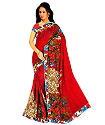 Tarang Women's Designer Georgette Fancy Saree with Blouse (Red)