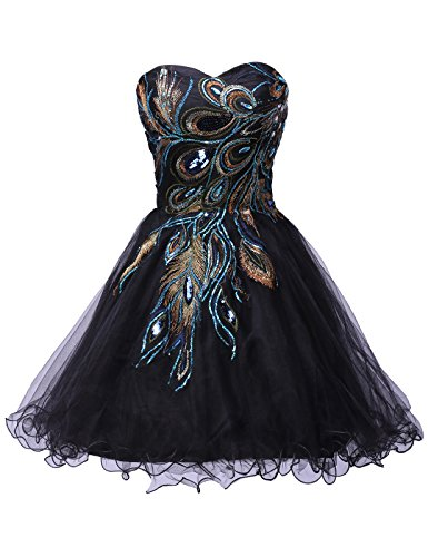 Grace Karin Black Short Prom Dresses A-Line Strapless Cocktail Dress Embroidered,size 14