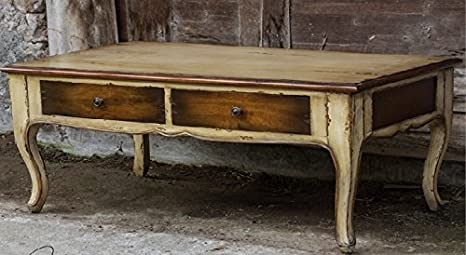 "44"" Rustic Butter Pecan & Mahogany Two-Toned Mango Wood Decorative Coffee Table"