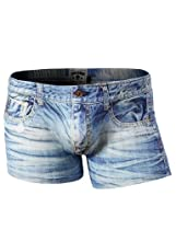 H2H Mens Denim Printed Boxer Briefs Trunks SKY US S/Asia M (KMBSP06)