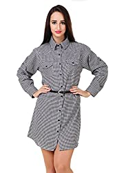 Big Pout women Black and white Checks Shirt Dress tunic with belt Dress - M Size (Blue)