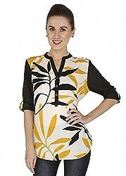 Mangosteen Black Cotton Tunic Top For Women