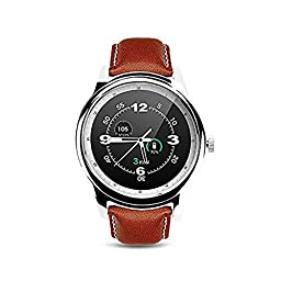 Rasse DM365 Bluetooth Smart Watch Waterproof Leather Strap Full HD IPS Screen G-sensor Fitness Watch Tracker Sleep Monitor Sync Call Message For iOS Android Smartphone(Silver)