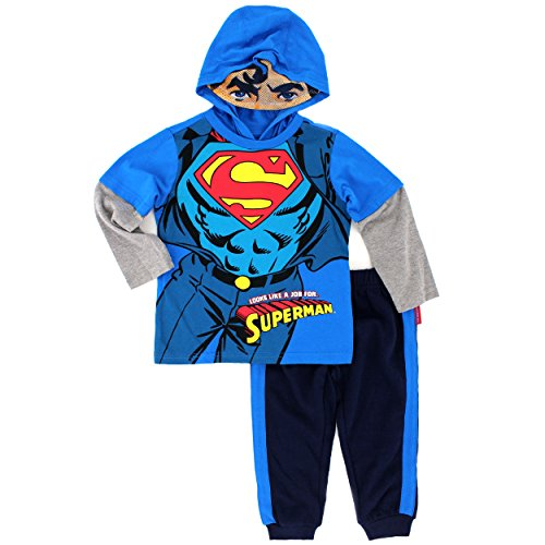 Warner Brothers Boys' Batman Or Superman 2-Piece Costume Hoodie Set at Gotham City Store