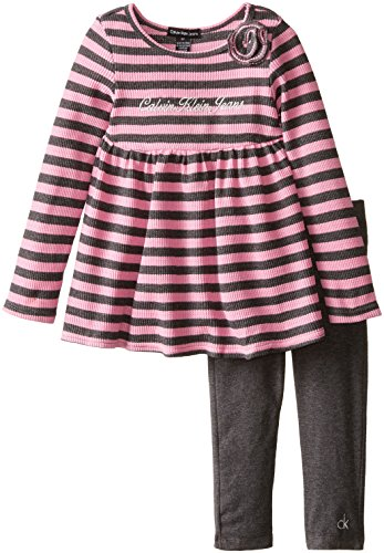 Calvin Klein Little Girls' Stripes Tunic with Leggings 2 Piece Set, Pink, 6