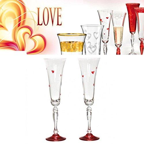 Flûtes Set Love cœurs rouges peint à la main en cristal de plomb 24% PbO 2x 180