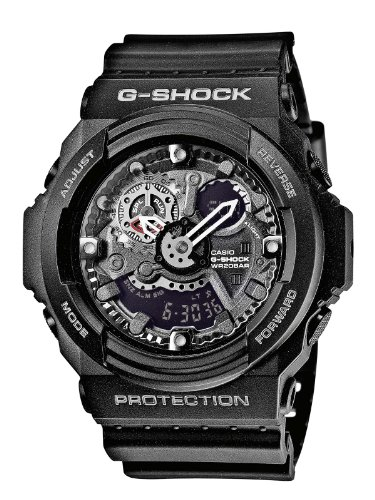 G-Shock Men's Quartz Watch with Black Dial Analogue and Digital Display in Black Resin Strap GA-300-1AER