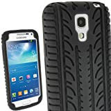 iGadgitz Black Silicone Skin Case Cover with Tyre Tread Design for Samsung Galaxy S4 SIV Mini I9190 I9195 Android Smartphone Mobile Phone + Screen Protector