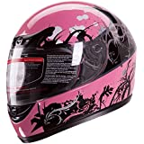 Gloss Pink Japanese Style Motorcycle Street Bike Full Face Helmet DOT (M)