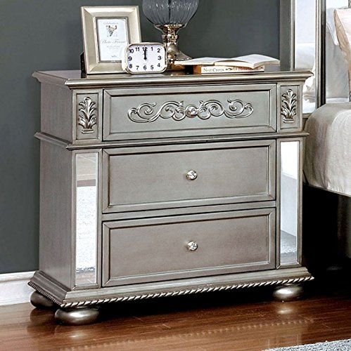 Esofastore Azha Collection Glamorous Look Traditional Silver Finish Gray Padded Fabric Queen Size Bed Tufted HB FB Matching Dresser Mirror Nightstand Formal Bedroom Furniture 4pc Set