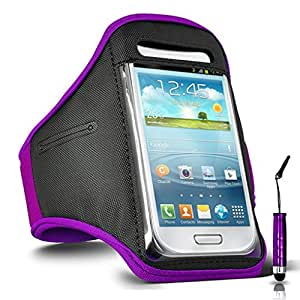 GBOS Adjustable Armband Gym Running Jogging Sports Case Cover Holder for LENOVO P70 With Mini Touch Stylus pen Purple