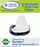 Eureka Quick Up Washable & Reusable Dust Cup DCF-11 Filter 62558A; Fits Eureka Quick Up Vacuum Cleaner Models: 61, 70, 71, 61A, 70A, 70AX, 71A, 71AV, 71B, AG61A, UK61A, Z61A; Compare to Eureka Part # 39657; Designed & Engineered By Crucial Vacuum