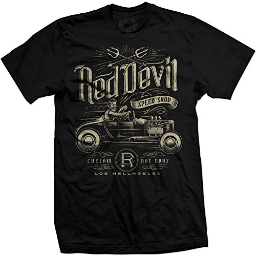 Men's Red Devil Clothing Speed Shop T-Shirt Front Print Black XL (Red Devil Clothing compare prices)