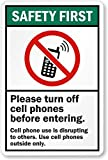 """Please Turn Off Cell Phones Before Entering (with No Mobile Phone, HDPE Plastic Sign, 10"""" x 7"""""""