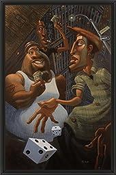 20in x 30in Green Street by Justin Bua - Black Floater Framed Canvas w/ BRUSHSTROKES