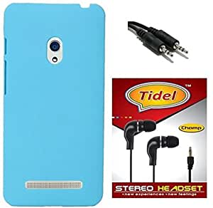Tidel Stylish Rubberized Plastic Back Cover For Asus Zenfone 5 ( SkyBlue ) With 3.5mm Handsfree Earphone & Aux Cable