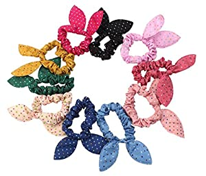 niceeshop(TM) Cute Womens Dot Rabbit Ear Hair Bow Tie Bands Chiffon Ponytail Holder,Multicolor