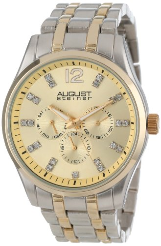 August Steiner Men's Two-Tone Bracelet Watch with Crystal Markers