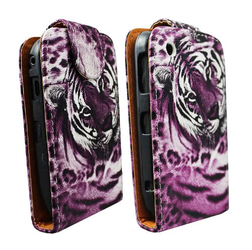 cellmax Blackberry Curve 9300 3G Flip Protection Case Cover Skin Pouch With Solid Build In Phone Holder Housing Tiger Chic Face Pink + Quality LCD Screen Scratch Protector + Free Microfibre Cleaning Cloth