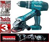 BHP453 BGA452 Makita Cordless LXT 18V Li-Ion Combi Drill & Angle Grinder