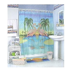 Pink flamingo bathroom shower curtain home for Bathroom ideas amazon