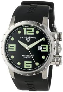 Swiss Legend Men's 30021-01 Ambassador Black Dial Black Silicone Watch