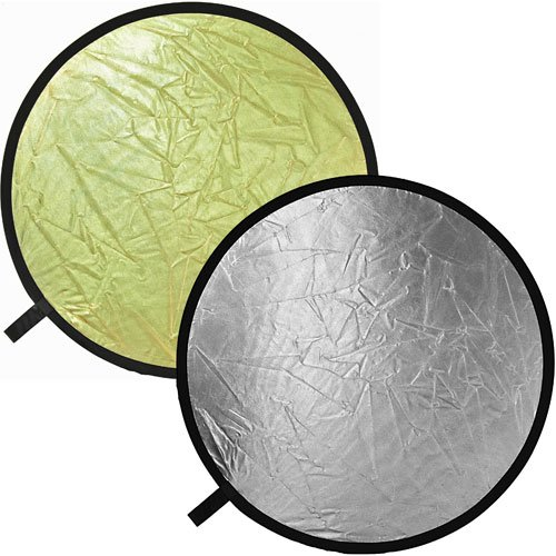 Disco reflector Impact plegable de 52, color plateado y dorado.