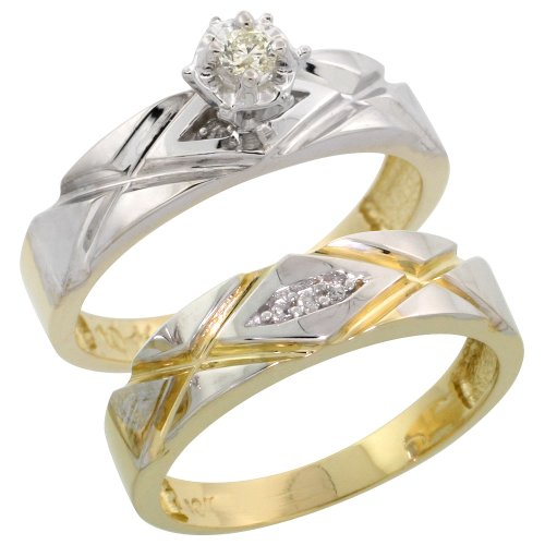 10k Gold 2-Piece Diamond Engagement Ring Set, w/ 0.11 Carat Brilliant Cut Diamonds, 3/16 in. (5mm) wide, Size 9