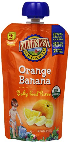 Earth's Best Organic Stage 2, Orange & Banana, 4 Ounce Pouch (Pack of 12)