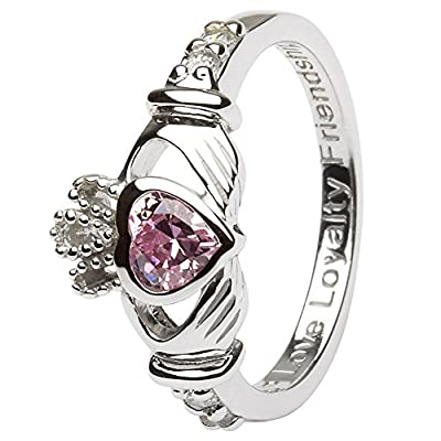 OCTOBER Birth Month Silver Claddagh Ring LS-SL90-10. Made in Ireland.