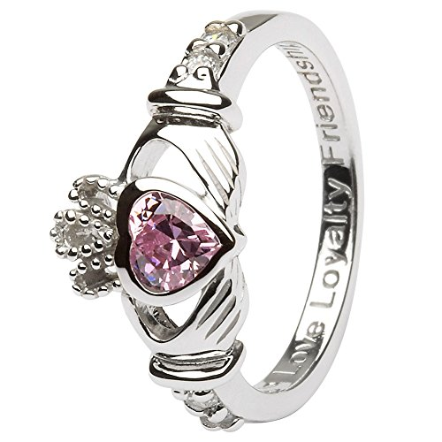 October Birth Month Silver Claddagh Ring: Love, Loyalty, Friendship