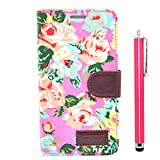 Apexel Calico Pattern Leather Stand Cover Case with Card Slot Holder and Touch Pen for Samsung Galaxy Note 4 - Rose