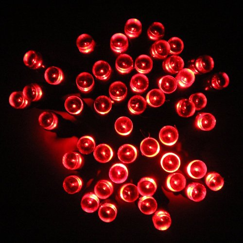 Lycheers Solar Christmas String Solar Fairy String Lights For Outdoor Room Garden Home Christmas Party Decoration Waterproof (Red, 17M 100Leds)