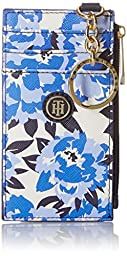 Tommy Hilfiger TH Floral Mini Wallet Key Fob ID Holder, Navy/White, One Size