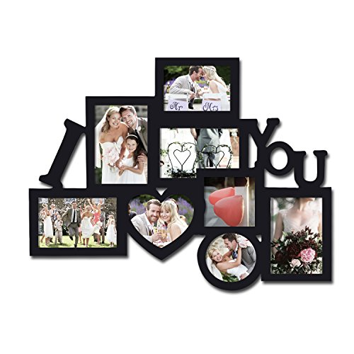 Adeco Decorative Black Wood 8 Openings Decorative Wood ''I Love You'' Collage Wall Hanging Picture Photo Frame, 4x6 in, 4.5x5 in, 3.5x5 in and 4x4 in (Photo Frame Love compare prices)