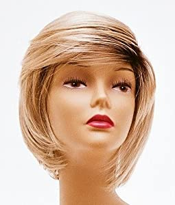 Short Blonde with Roots Wig - Quality Kanekalon Synthetic Hair Loss Replacement Natural Looking Fashion for Women