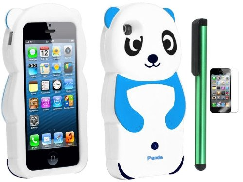 Buy  Sky Blue White Smile Panda Silicone Jelly Skin Premium Design Protector Soft Cover Case Compatible for Apple Iphone 5 (AT&T, VERIZON, SPRINT) + Screen Protector Film + Combination 1 of New Metal Stylus Touch Screen Pen (4