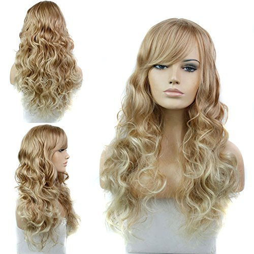 [Sexy Stylish Long Natural Wave Synthetic Hair Cosplay Wig Women Full Party Wigs with Bangs Blonde] (Long Sexy Wigs)