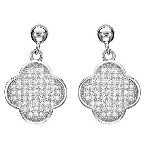 Earrings With Cubic zirconia Crafted in 925 Sterling silver Length 22mm