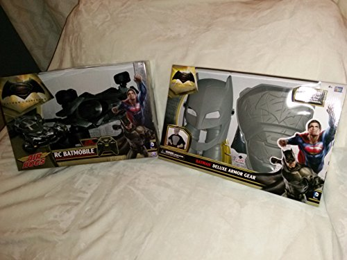 Batman Toy Set: Batman Deluxe Armor Gear & Batman vs Superman Official Movie Replica RC Batmobile Light Up Remote Control In Unopened Box