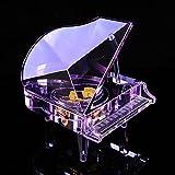 WHH Color cristal vidrio piano música creativo romántico cumpleaños regalos Navidad música caja , medium blue