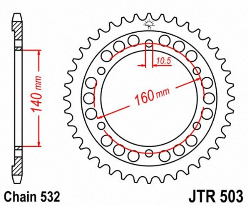 JT Sprockets JTR503.45 45T Steel Rear Sprocket jt sprockets jtr503 45 45t steel rear sprocket