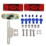 CZC AUTO Exclusive 12V LED Low Profile Submersible Rectangular Trailer Light Kit Tail Stop Turn Running Lights for Boat Trailer Truck with Aluminum Trailer License Plate Bracket, Stainless Hardware