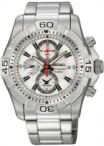 Seiko Men's SNAE23 Chronograph Silver Dial Stainless Steel Alarm Watch