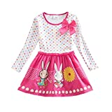 VIKITA Baby Girl Cartoon Flower Cotton Dress Long Sleeve Winter Dresses For 2-8 Years Little Girls (5T, LH4829PINK)
